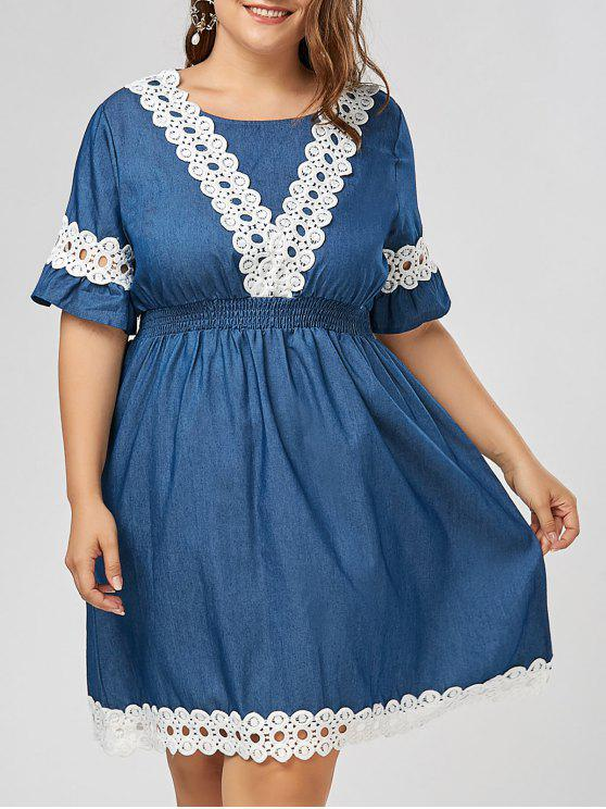 Plus Size Lace Panel Chambray Dress with Flare Sleeves