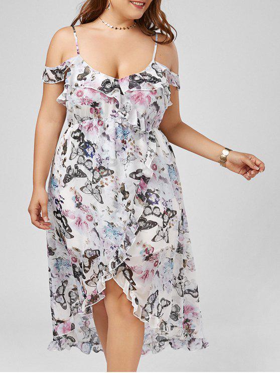 Mariposa impresión hombro frío maxi más vestido de deslizamiento de tamaño - Floral 2XL