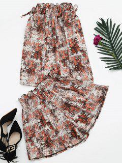 Tie Dye Ruffles Top Y Pantalones Cortos Set - Rojo