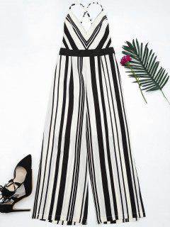 Open Back Striped Cami Jumpsuit - Black L