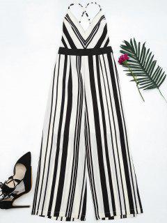 Open Back Striped Cami Jumpsuit - Black L
