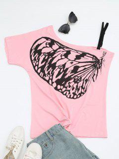 Camiseta Del Cuello De La Inclinación De La Impresión De La Mariposa - Rosado M