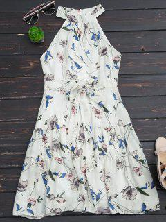 Sleeveless High Neck Floral Print Dress - White M