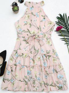 Sleeveless High Neck Floral Print Dress - Pink L