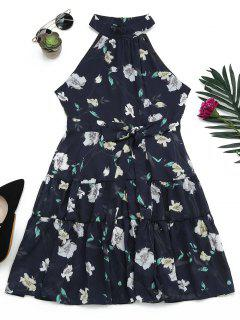 Sleeveless High Neck Floral Print Dress - Purplish Blue M