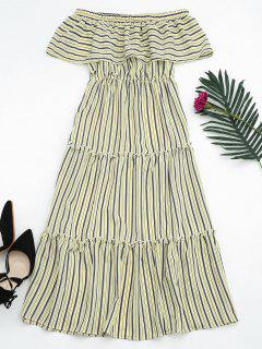 Flounce Off The Shoulder Stripe Dress - Yellow