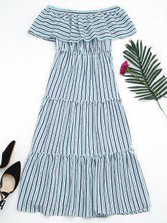 Flounce Off The Shoulder Stripe Dress - Sky Blue
