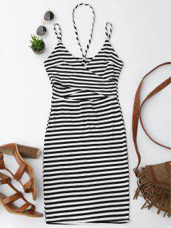 Cut Out Striped Cami Dress - Stripe M