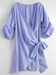 Gestreiftes Selbstbindung Gewicktes Kleid - Streifen  L