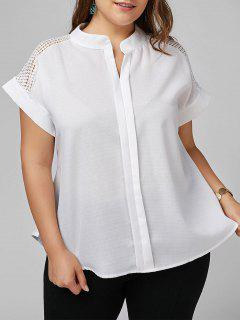 Plus Size Openwork V Neck Plain Blouse - White 5xl