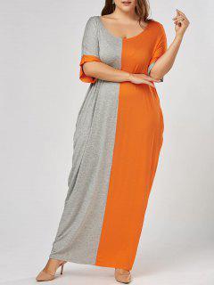 Robe T-shirt Longue Bouffante Contrastante Grande Taille - Gris Et Orange Xl