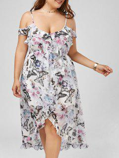 Butterfly Print Cold Shoulder Maxi Plus Size Slip Dress - Floral 2xl