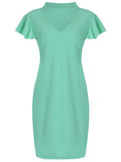 Plus Size V Neck Ruffle Sheath Dress - Light Green 6xl
