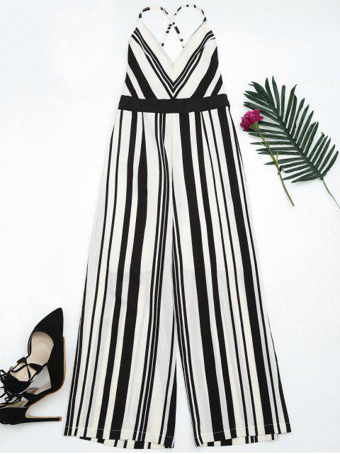 best Open Back Striped Cami Jumpsuit - BLACK L Mobile