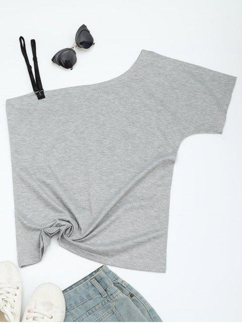 chic Butterfly Print Skew Collar Tee - GRAY XL Mobile