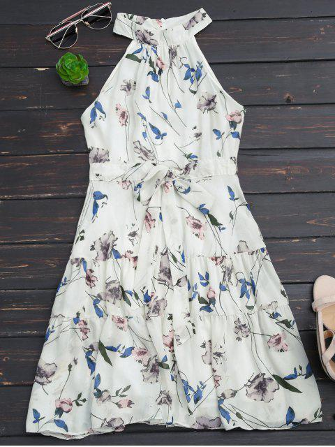outfits Sleeveless High Neck Floral Print Dress - WHITE L Mobile