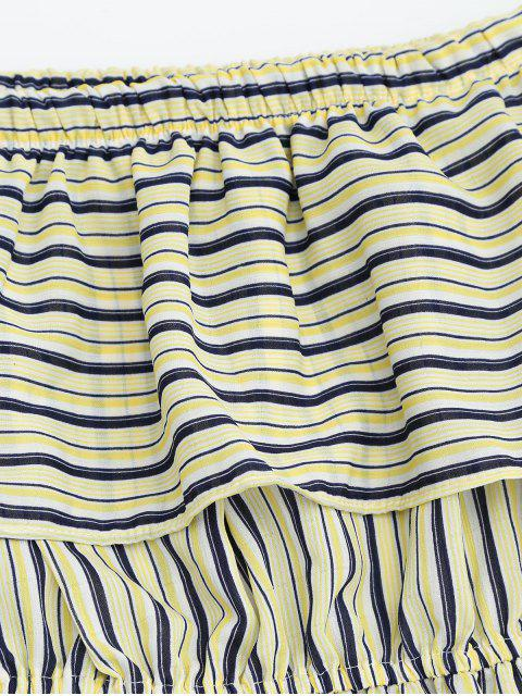 women's Flounce Off The Shoulder Stripe Dress - YELLOW ONE SIZE Mobile