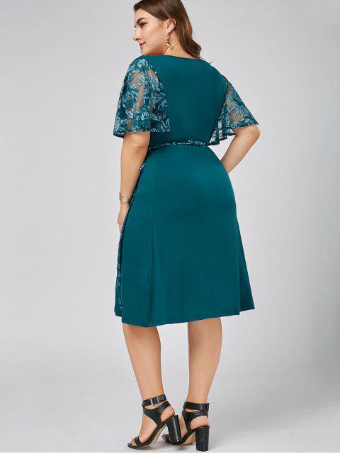 online Plus Size Lace Trim Low Cut Wrap Dress - MALACHITE GREEN 3XL Mobile