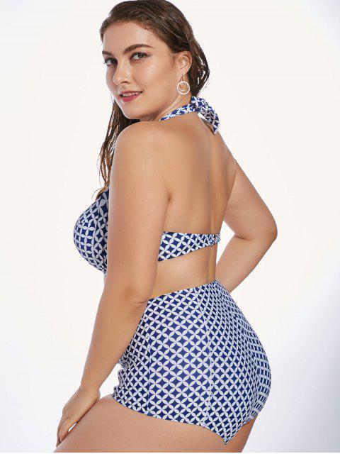 chic Plus Size Retro Halter High Waist Underwire Bikini - NAVY BLUE 2XL Mobile