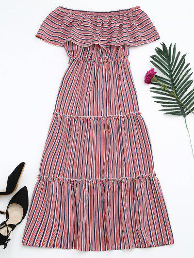 Flounce Off The Shoulder Stripe Dress - Red