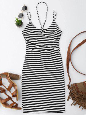 Cut Out Striped Cami Dress - Stripe M