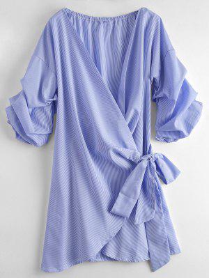 Vestido Envuelto Con Nudo A Rayas - Raya L