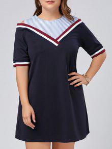 Vestido De Tafetán En Talla Grande - Azul Purpúreo 5xl