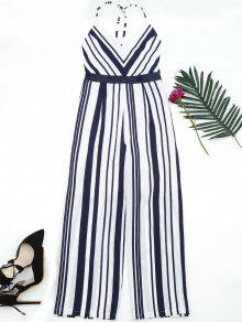 Open Back Striped Cami Jumpsuit - Purplish Blue M