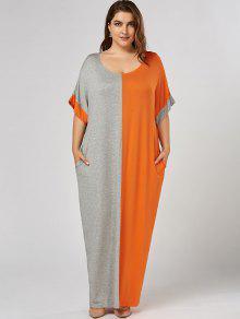 Plus Size Maxi Color Block T-shirt Dress