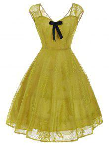 خمر بونوت منمق فستان الدانتيل - الأصفر Xl