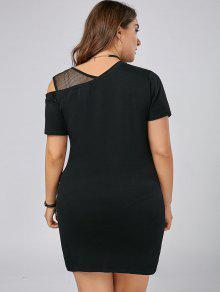 ded6b1d8c8e 27% OFF  2019 Plus Size Graphic Mesh Panel Skew Neck T-shirt Dress ...