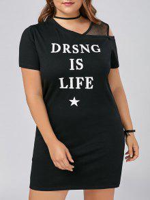 Más Tamaño Gráfico De Malla Panel Torsión Cuello Vestido De Camiseta - Negro 5xl