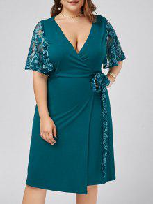 Plus Size Lace Trim Low Cut Wrap Dress - Malachite Green 4xl