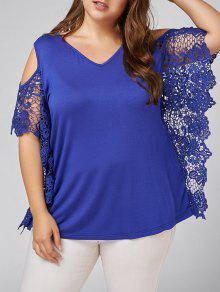 Plus Size Butterfly Sleeve Cold Shoulder Blouse - Blue 5xl