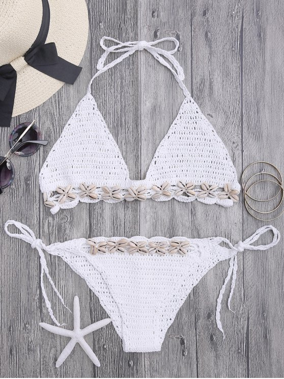 outfits Seashell Trim Crochet String Bikini Set - WHITE ONE SIZE(FIT SIZE XS TO M)