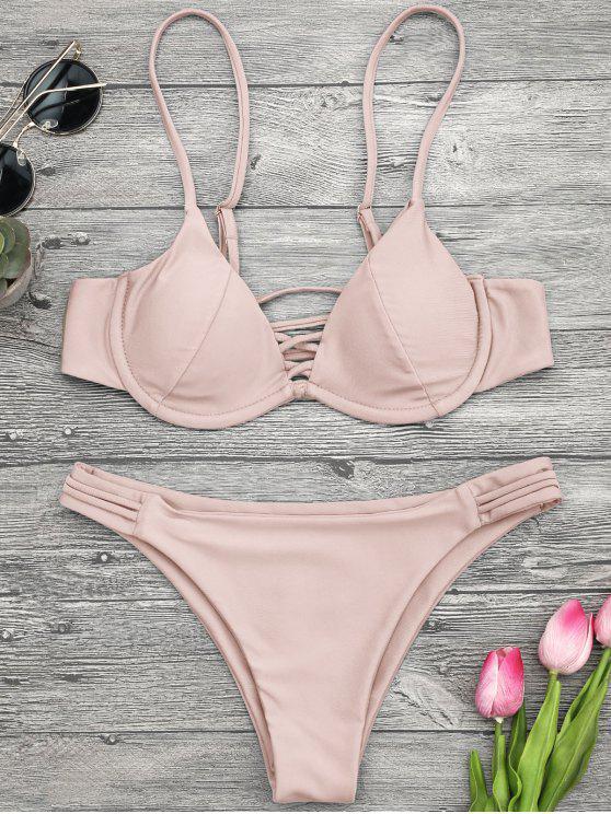 best Lattice Padded Underwire Bikini Set - PINK L