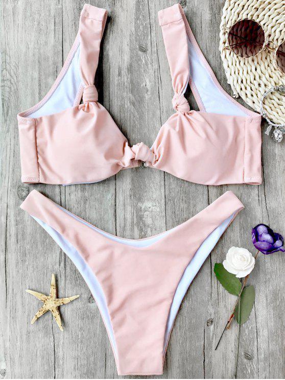 outfit High Cut Padded Knotted Bikini Set - PINK M