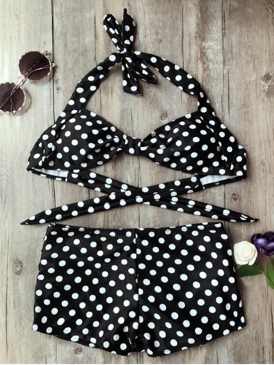 fashion Polka Dot Boyleg Skorts Bikini Set - WHITE AND BLACK M