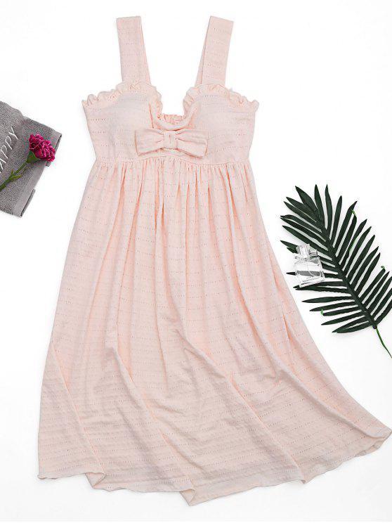 فستان كشكش الشريط بونوت مبطن المنزل - الضحلة الوردي S