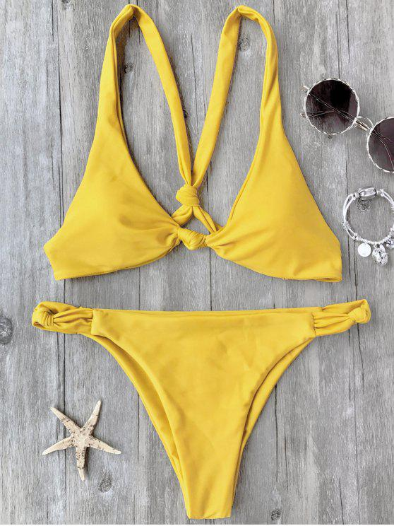 sale Knotted Padded Scoop Bikini Set - YELLOW S