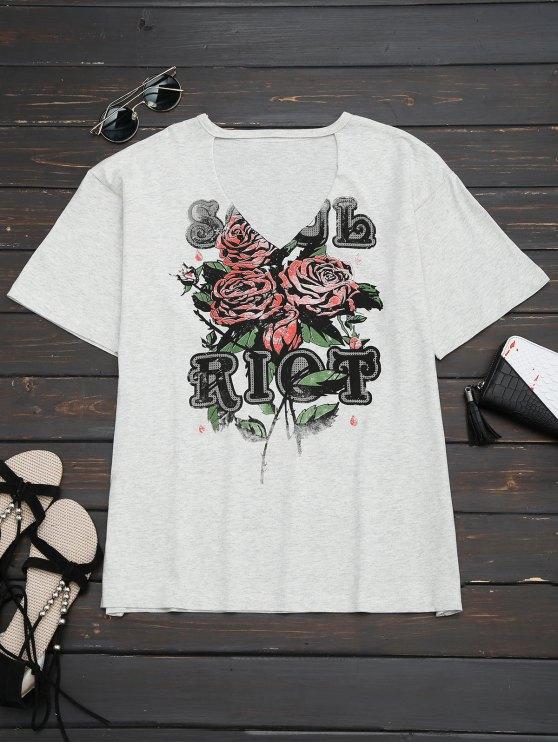 T-shirt de garimbo gráfico de algodão - Cinza S