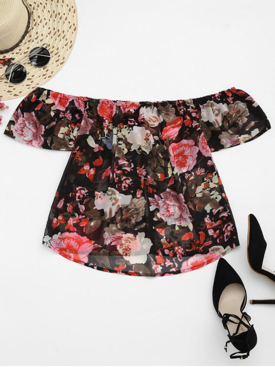341aed216a508 20% OFF  2019 Floral Chiffon Off Shoulder Top In FLORAL
