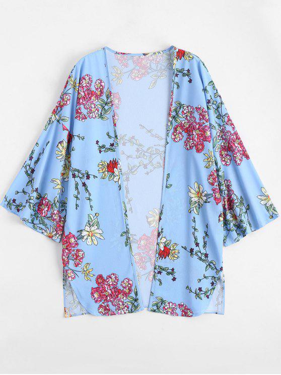 outfit Open Front Floral Print Slit Blouse - LIGHT BLUE M