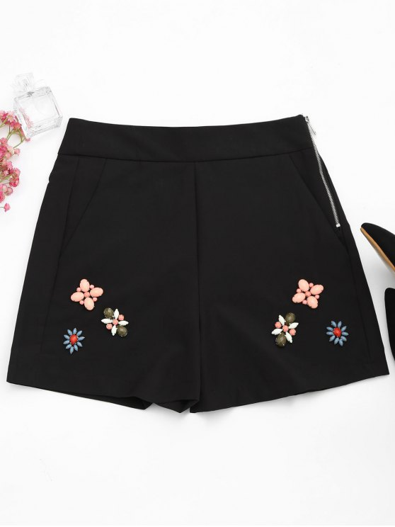 fashion High Waisted Beading Patched Shorts - BLACK L