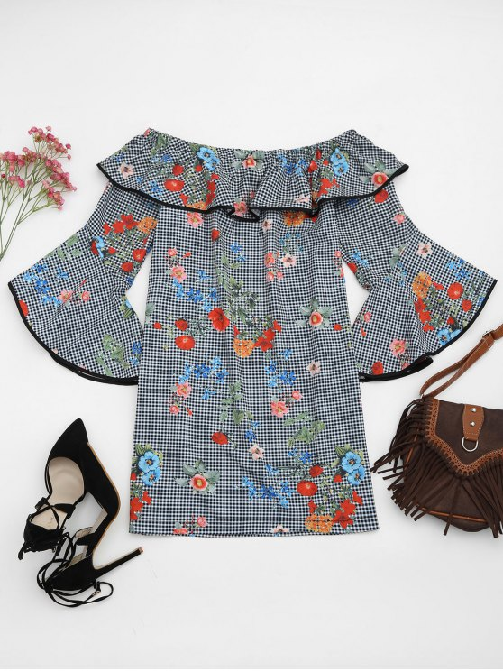 women Plaid Floral Off Shoulder Mini Dress - FLORAL S
