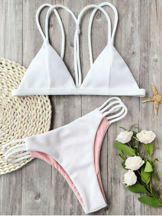 lady Banded Ribbed Texture Strappy Bikini - WHITE M