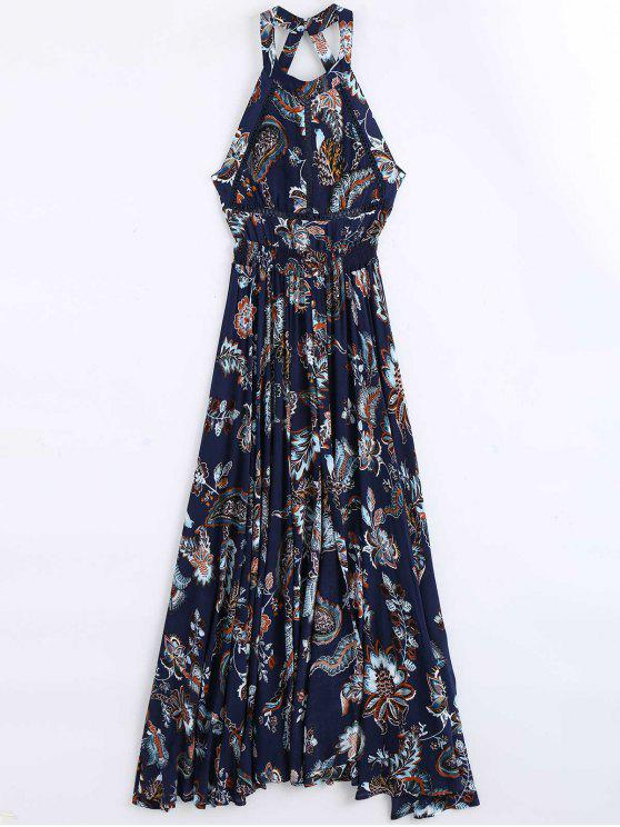 womens Floral Print Openwork Backless Maxi Dress - FLORAL M