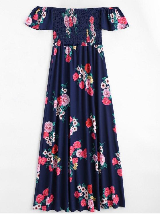 ladies Off The Shoulder Floral Print Maxi Dress - PURPLISH BLUE L