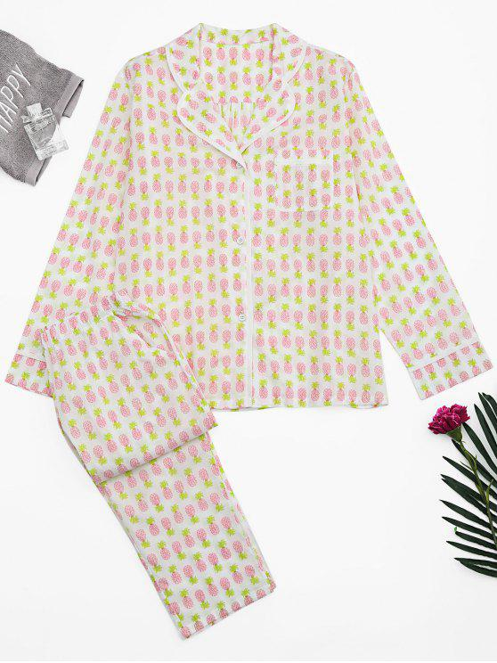 best Pineapple Print Pocket Loungewear Suit - WHITE XL