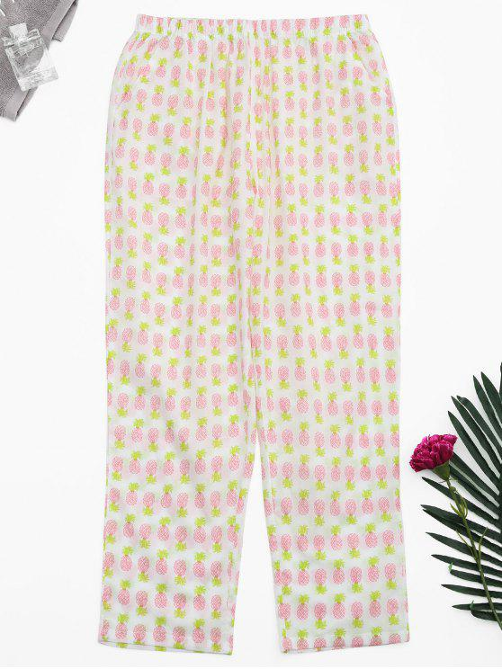 outfit Side Pockets Pineapple Print Loungewear Pants - WHITE XL